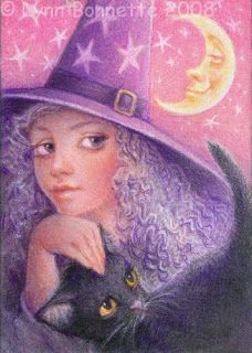 """Purple Witch, Black Cat and Moon"" -by Lynn Bonnette"