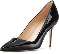 Manolo Blahnik BB Patent 90mm Pump, Black shoes, black heels http://www.shopstyle.com/action/loadRetailerProductPage?id=470250164&pid=uid7609-25959603-56