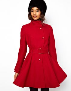 Fit and Flare Belted Coat