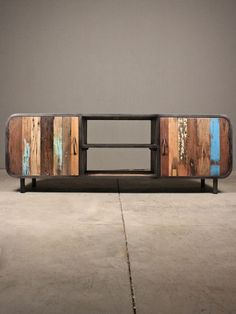 remmington console | RedInFred pairing reclaimed wood and industrial metal details, this chic media center adds both personality and texture
