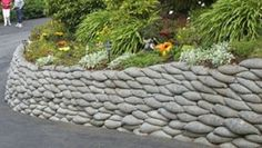 Concrete 'bag' retaining wall. :)   Benches and walls   Pinterest