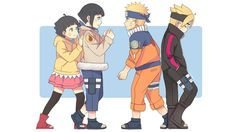 Young Hinata & Naruto and their children Himawari and Boruto