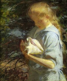 Eleanor Holding a Shell, North Haven, Maine by Frank Weston Benson