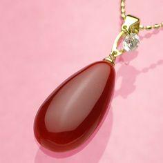 【楽天市場】最高級!日本産血赤珊瑚ドロップK18ペンダントネックレス(45センチK18スライドチェーン付き)