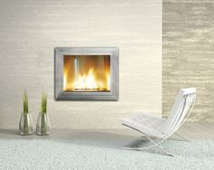 Hearth Cabinet's ventless fireplace (morganista - thefancy) Wall Mounted Fireplace, Home Fireplace, Fireplace Mantels, Fireplace Ideas, Contemporary Fireplace Designs, Modern Fireplaces, Master Bedroom Redo, Master Bathroom, Living Room New York