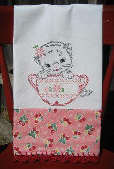 vintage inspired sweet kitty flour sack tea towel from vintage grey  $25.00 or DIY :)
