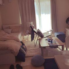 marikaさんの、ベッド周り,一人暮らし,1人暮らし,1R,ホワイト,ブルー&ホワイト,ホテルライク,1人暮らし 賃貸,海外インテリアに憧れて,インスタ→marikaoruhome,のお部屋写真