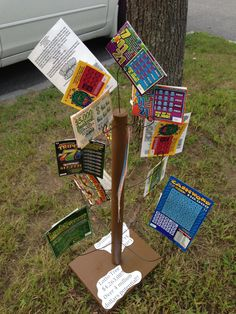 Money tree!!!! Scratch off lotto tickets on a wire tree frame. Such a good idea for raffles, birthdays, baby showers, etc.