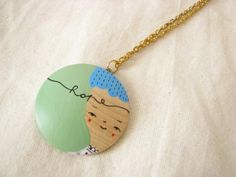 hand painted illustrated wooden necklace pendant wearable art