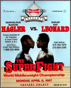 Leonard tricked Hagler on this one. Bigger gloves, bigger ring, at it was a 12 rounder, as Hagler was a champion used to 15 rounder championship fights. And Leonard got it. Mind Over Body, Mind Body Soul, Marvelous Marvin Hagler, Alabama, Boxing Posters, History Magazine, Boxing Champions, Combat Sport, Sports Figures