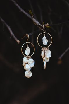 Golden Bohemian Mermaid Keshi Pearl Earrings by layerbar on Etsy