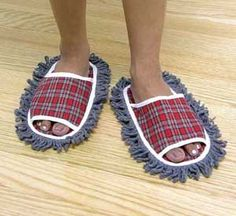 I am slightly embarrassed to say I own a pair of dust mop slippers like these...mine are neon green :)