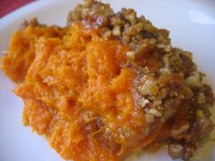 Ruth's Chris sweet potato casserole - very similar to the one I always make. Main difference is a stick of butter in the potatoes instead of 1/2 cup of milk.