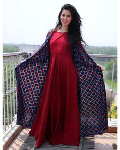 Buy The Secret Label Wine Red Cotton Printed Jacket Style Kurta online in India at best price. ine red printed maxi dress paired with dual toned long jacket. The maxi dress can be worn just like Indian Attire, Indian Wear, Indian Style, Kurta Designs, Blouse Designs, Indian Dresses, Indian Outfits, Anarkali, Lehenga