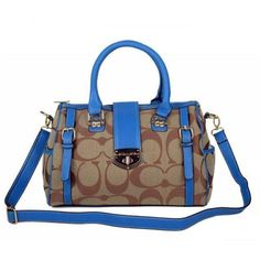 Coach Willis Lock Logo Signature Medium Blue Luggage Bags BRK Give You The Best feeling!