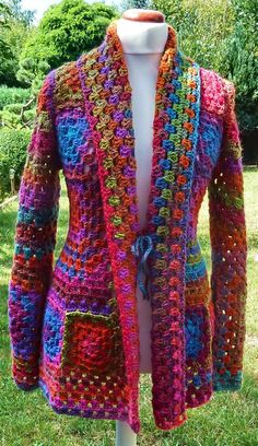 Crochet Coat, Crochet Cardigan Pattern, Granny Square Crochet Pattern, Crochet Jacket, Crochet Blouse, Crochet Squares, Crochet Clothes, Boho Crochet Patterns, Hippie Crochet