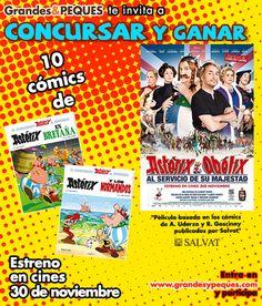 """Concurso Astérix y Obélix: Celebramos el estreno de la película """"Astérix y Obélix al servicio de su majestad"""" y te regalamos 10 fabulosos libros de cómics http://grandesypeques.com/index.php/grandes/consursos-grandes"""