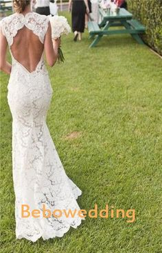 Lace outdoor garden sexy backless wedding dress by Bebowedding, $345.00
