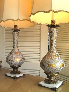 Pair Gold Hollywood Regency Lamps C 1940s 50s By Groovygirl60, $479.00