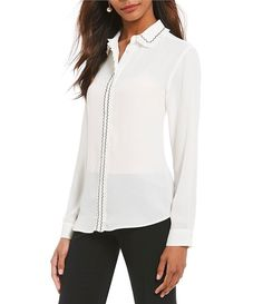 Ivanka Trump Embroidered Ruffle Trim Faux Pearl Button-Front Blouse in Vanilla and Black