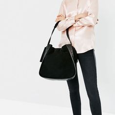 ZARA - SALE - LEATHER BUCKET BAG WITH EMBOSSED DETAIL