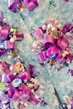 """Ponker Dress by Mary Katrantzou """"extravagantly adorned with hand made embellished 'ponkers' fabricated from silk ribbon, Swarovski crystals and pearls."""""""