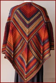 Triangle Poncho Tutorial. This is knit but could easily be done with crochet.