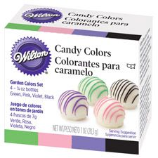 Garden Candy Color Set - Wilton - Oil-based color to tint chocolate - regular food coloring clumps
