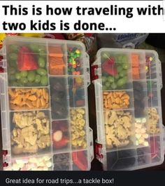 Use a tackle box to keep your kid's snacks organized on a road trip. – CreoleStorm Use a tackle box to keep your kid's snacks organized on a road trip. Use a tackle box to keep your kid's snacks organized on a road trip. Parenting Done Right, Kids And Parenting, Parenting Hacks, Festival Camping, Tackle Box, Baby Life Hacks, Mom Hacks, Hacks For Kids, Futur Parents