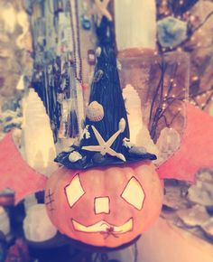 Halloween in the Crystal shop in Portugal.  #crystals #healing #portugal #selenite #pumpkin
