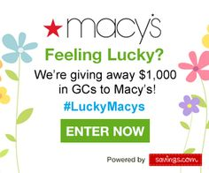 Giveaway: Win a $50 Macy's Gift Card  Are you feeling the need for a shopping spree? I always love the chance at FREE gift cards! Savings.com is continuing the St. Patrick's Day celeb... AFrugalHome.com