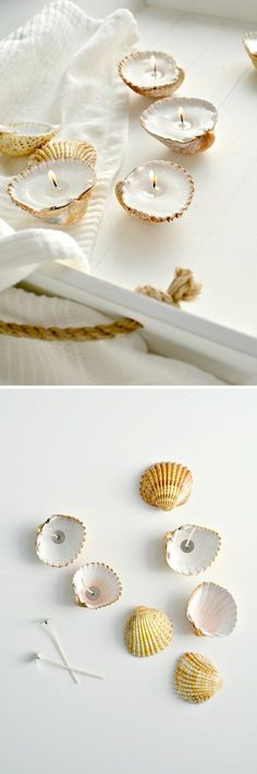 DIY Candle Tutorials for Bathroom Decor | Handmade Shell Candles by DIY Ready at http://diyready.com/bathroom-decorating-ideas-on-a-budget/