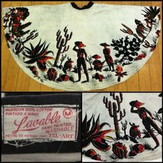 The History Behind Hand-painted Mexican Skirts. Love this scene! Mexican Fashion, Folk Fashion, 1950s Inspired Fashion, 1950s Fashion, Vintage Vogue, Vintage Fashion, Mexican Skirts, Mexican Costume, Hand Painted Dress