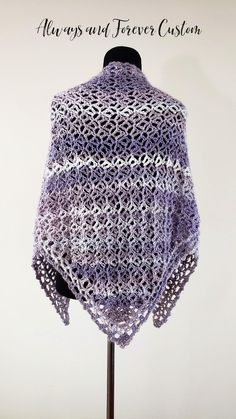 Hand crocheted purple and pearl shawl. Custom orders available. Kerchief, Shawls And Wraps, Hand Crochet, Pearls, Knitting, Purple, Handmade, Etsy, Products