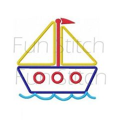 Sailboat applique machine embroidery design by FunStitch on Etsy
