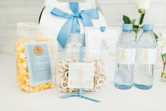 Elegant French Blue Country Club Wedding ⋆ Nico and Lala Wedding Welcome Gifts, Wedding Gifts, Welcome Note, French Blue, Country Club Wedding, Box Design, Table Decorations, Elegant, Wedding Day Gifts