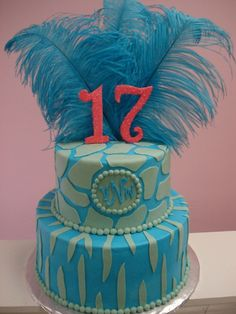 17th Birthday Cake With Purple Numbers And A Different Pattern 17