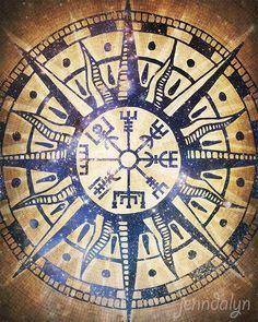 Image result for viking compass line art