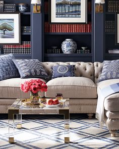 Shop Warner Linen Sectional Sofa at Horchow, where you'll find new lower shipping on hundreds of home furnishings and gifts. Home Living Room, Living Room Designs, Living Spaces, Small Living, Cozy Living, Usa Living, Coastal Living, Urban Deco, Home Decoracion
