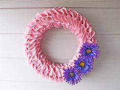 Pink Burlap Ruffle Wreath with Purple by NOLACraftsbyDesign, $55.00