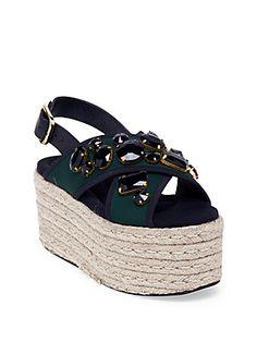 Marni Jeweled Crisscross Strap Espadrille Platform Sandals