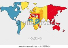 A Flag Illustration inside the shape of a world map of the country of Moldova Moldova, 3d Rendering, Illustration, Royalty Free Stock Photos, Flag, Concept, Shapes, Pictures, Country
