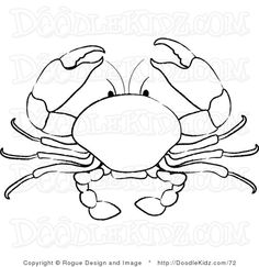 Clip Art Illustration of a Crab Coloring Page