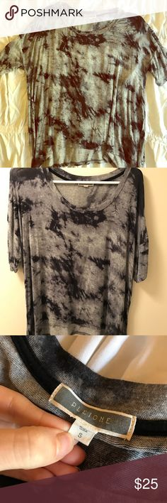 🎀 Black & Grey Tie-Dye Top🎀 WORN ONCE! Nordstrom Brand Pleione. Excellent condition short sleeve Tie-Dye top! Asymmetrical top edge. No flaws. Size Small.    🚫No Trades 💯 On Posh Sales ONLY  ❌ I do not negotiate in comments  ✅ Reasonable Offers Welcome 🎁 Bundle to Save 20% Pleione Tops Tees - Short Sleeve