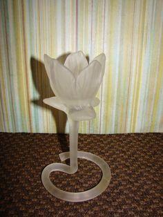 Candle Holder / Tulip / Frosted Glass / Vintage / Tea Light $18