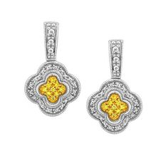Perfect Bridesmaid Gifts - Silver 0.12 ctw color enhanced yellow diamond earrings.