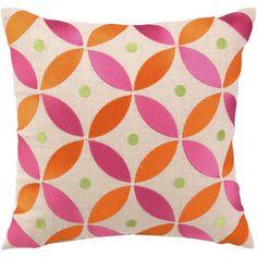 BohoChic Geo Flower Saffron Embroidered Pillow