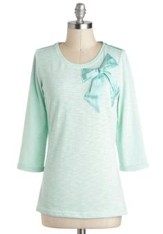 Laid-back to Beautiful Top - Mid-length, Mint, Solid, Bows, Casual, Pastel, 3/4 Sleeve