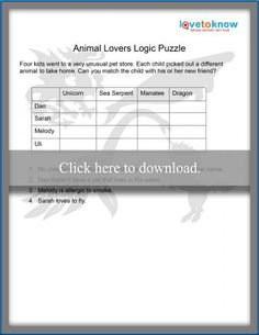 Logic puzzles can be tricky, but they are very beneficial because they teach critical thinking and reasoning skills. Printable Brain Teasers, Teaching Critical Thinking, Brain Teasers For Kids, Four Kids, Logic Puzzles, Unusual Animals, Puzzles For Kids, Pet Store, Printables