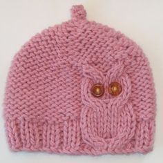 Owl Cable Knit Hat in Cream Pink